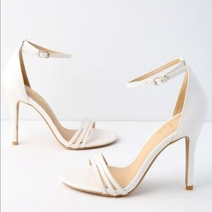 Lulus White Ankle Strap Heels